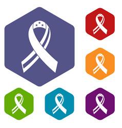 American ribbon icons set hexagon vector