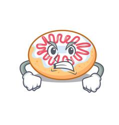 Angry jelly donut mascot cartoon vector
