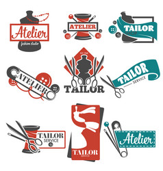 Atelier and tailor service isolated icons vector