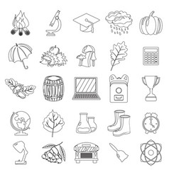 Autumn school icon set outline line thin style vector
