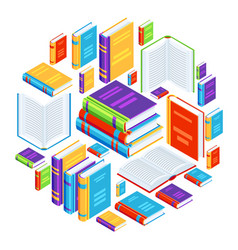 background with isometric books vector image
