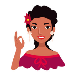 beautiful mexican girl wear traditional clothes vector image