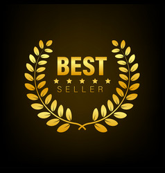 Best seller gold sign with laurel stock vector
