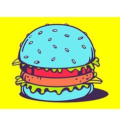 Big blue unusual burger on yellow backgro vector