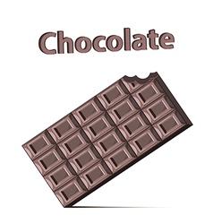Bitten chocolate bar on white background vector