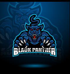 black panther esport mascot logo vector image
