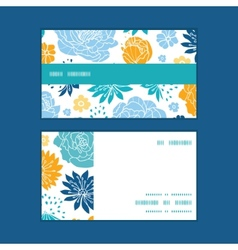 blue and yellow flowersilhouettes vector image