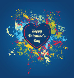 Blue valentines day card with colorful splashes vector