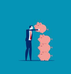 businessman saving money financial and economic vector image