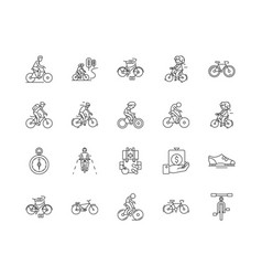 Bycicle line icons signs set outline vector