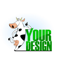 cartoon cow emblem for logo your design vector image
