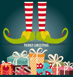 christmas card with elf legs and presents vector image