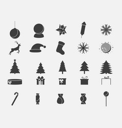 christmas icon set collection of holiday symbols vector image