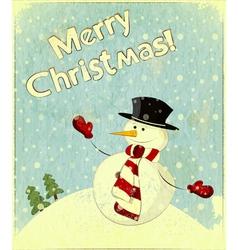 Christmas retro snowman vector