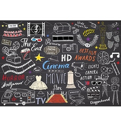Cinema and Film Industry Set Hand Drawn Sketch on vector