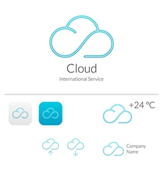 Cloud Stylish Logo and Icons Concept vector