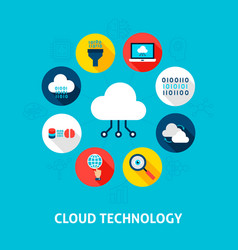 cloud technology concept icons vector image