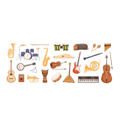 Colorful collection various musical instruments vector