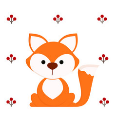 Cute fox on white background vector
