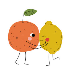 cute orange and lemon hugging and kissing vector image