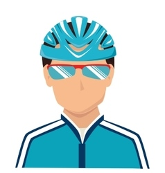 cyclist sunglasses helmet icon vector image