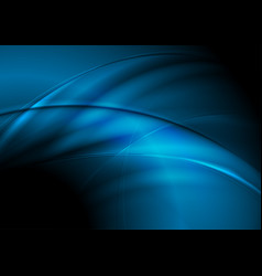Dark blue abstract smooth waves background vector
