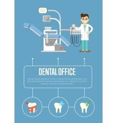 Dental office banner with dentist and dental chair vector
