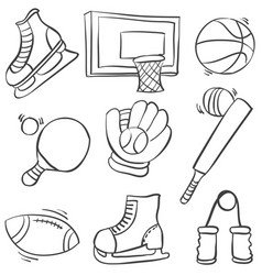Doodle of sport equipment various collection vector