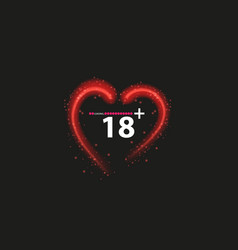 eighteen plus neon sign on black background vector image