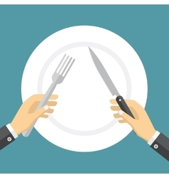Empty plate and hands holding knife and fork vector image