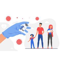family coronavirus vaccination protection doctor vector image