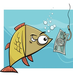 Fishing with money cartoon vector