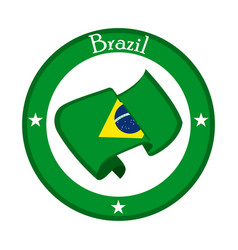Flag of brazil on a label vector