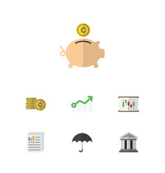 Flat icon gain set of diagram growth bank and vector