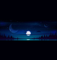 Full moon in night sky with stars above pond vector