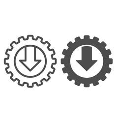 Gear and arrow line and glyph icon mechanic vector