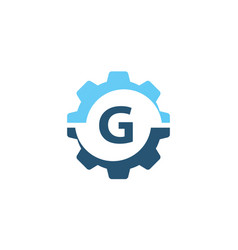 gear solution logo initial g vector image