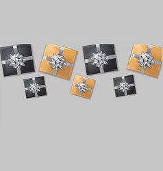 gift boxes silver bow realistic dark vector image