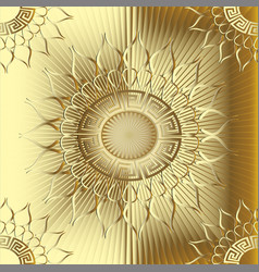 Gold 3d sunny greek seamless pattern vector