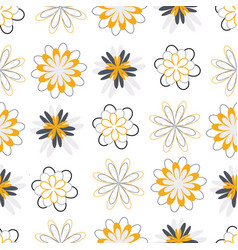 gold and grey flower circles seamless pattern vector image