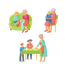 Grandmother spending time with grandchildren vector