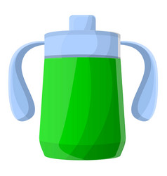 green sippy cup icon cartoon style vector image
