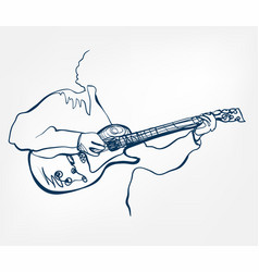 hands guitar sketch line design music instrument vector image
