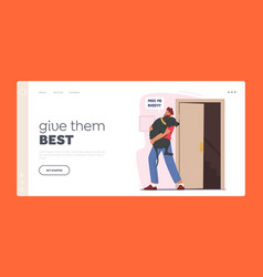 Happy man hugging pet landing page template owner vector