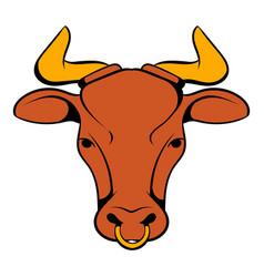 head indian cow icon cartoon vector image