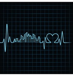 Heartbeat make a building design and heart vector image
