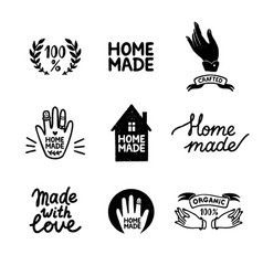 Homemade stamp logos set - vintage icons in stamp vector