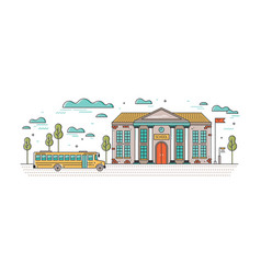 Horizontal banner with classic school building and vector