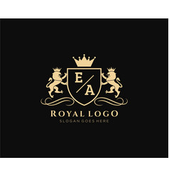 Initial eea letter lion royal luxury vector
