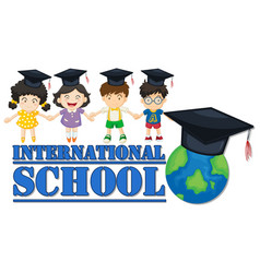 International school banner with four kids vector